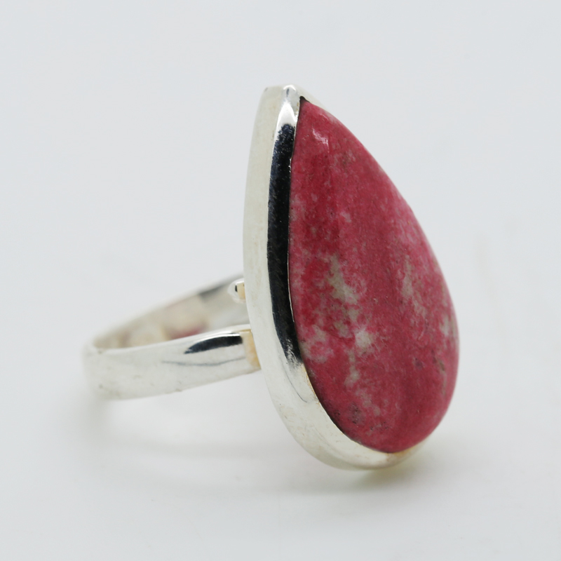 Pink Thulite Pendeloque-Shaped Ring in Silver