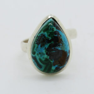 Malachite In Chrysocolla Pear-Shaped Ring in Silver