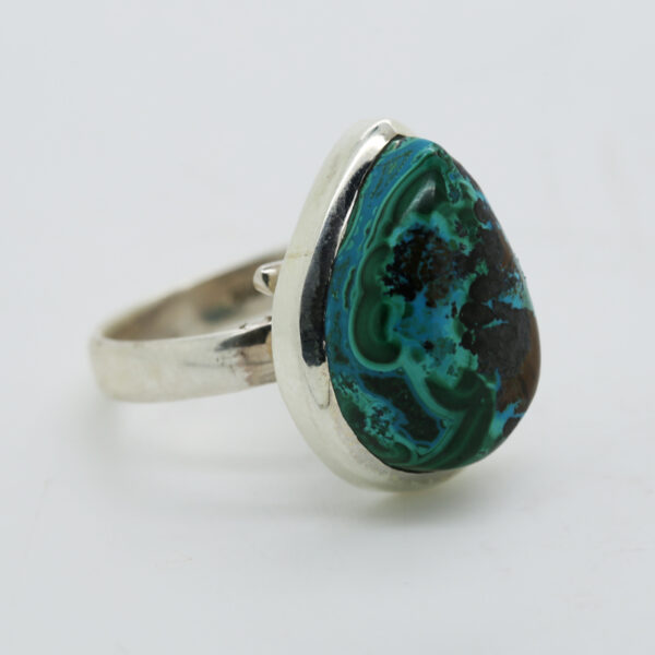 Malachite In Chrysocolia Pear-Shaped Ring in Silver
