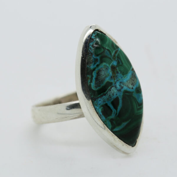 Malachite In Chrysocolia Marquise-Shaped Ring in Silver