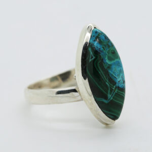 Malachite In Chrysocolla Marquise-Shaped Ring in Silver