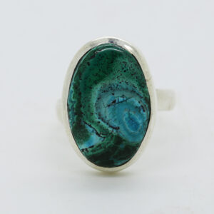 Malachite In Chrysocolia Oval-Shaped Ring in Silver