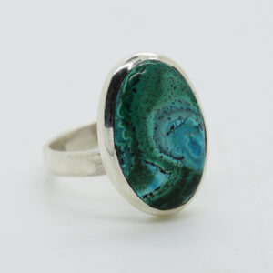 Malachite In Chrysocolla Oval-Shaped Ring in Silver
