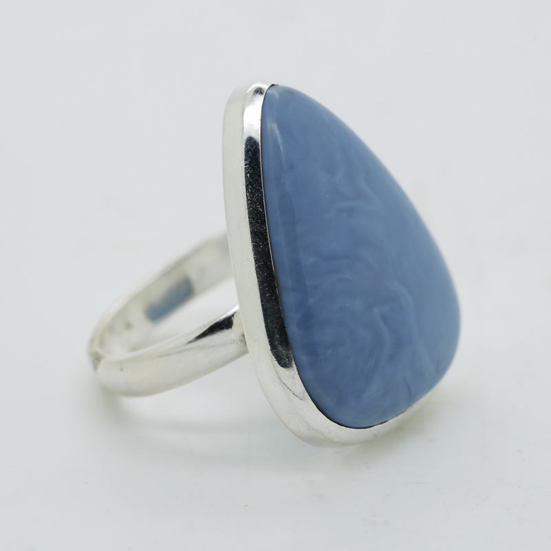 Owyhee Opal Trillion-Shaped Ring in Silver
