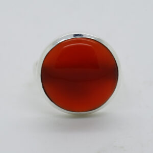 Carnelian Round-Shaped Ring in Silver