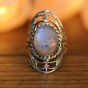 Rainbow Moonstone in Finger Ring