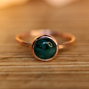 Green Emerald Ring in Rose Gold