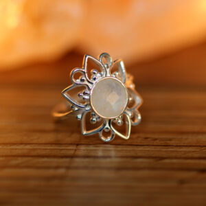 Rainbow Moonstone in Lotus Ring