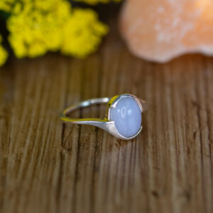 Blue Lace Agate Ring in Silver