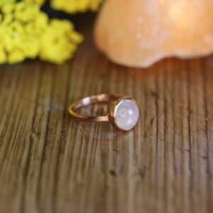 Natural Rainbow Moonstone Ring in Vermeil (Rose) Gold