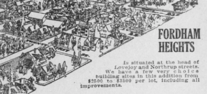 """Drawing of Fordham Heights. Text """"Is situated at the head of Lovejoy and Northrup streets. We have a few very choice building sites in this addition from $2500 to $3500 per lot, including all improvements."""""""