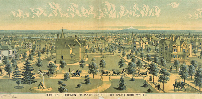 "Portland circa 1888 text: Portland, Oregon the Metropolis of the Pacific Northwest. Illustration of ""Millionaires Row"" today's NW 19th street. Idilic representation with horse drawn carriages, large mansions with great lawns."