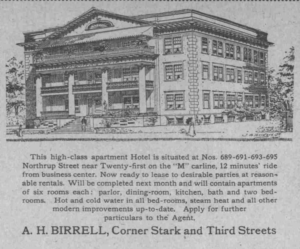 Oregonian Ad for the completion of the Hotel on NW Northrup
