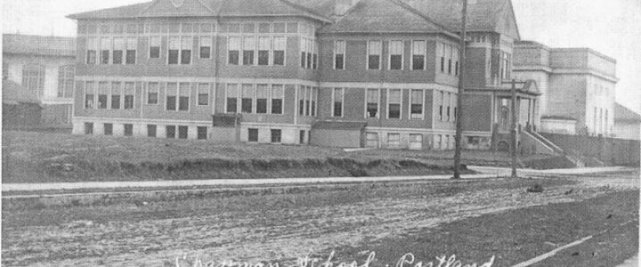 Text: Old Chapman School. NW 25th and Wilson - 1891-1923- Photo taken about 1910 - Destroyed by arson fire in 1924.