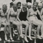 Historical photo of a group of women in swimwear at Pier Park Pool