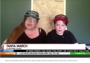 Tanya March on left, Berkeley Sherman on right. Wearing Slabtown Tours baseball hats in front of a 1890s Portland paving map.