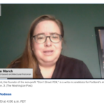 Tanya March Portland-based architectural historian screen shot of Washing Post interview October 2020.