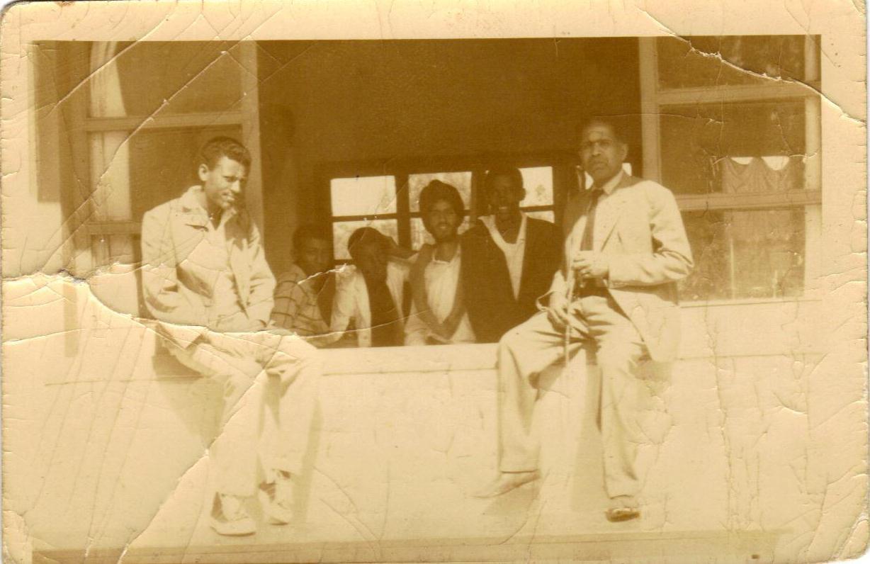 TMS School Day 1967 (1959 Eth)(left to right) Abraham Gizaw, Ephrem (?), Negash Amde, Sarebjit Singh, Tariku Belay, and Mr. Kuryan.Contributor: Tariku Belay, '68