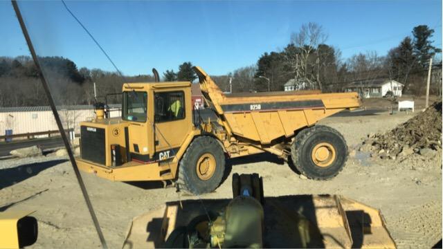 Yellow CAT dump truck