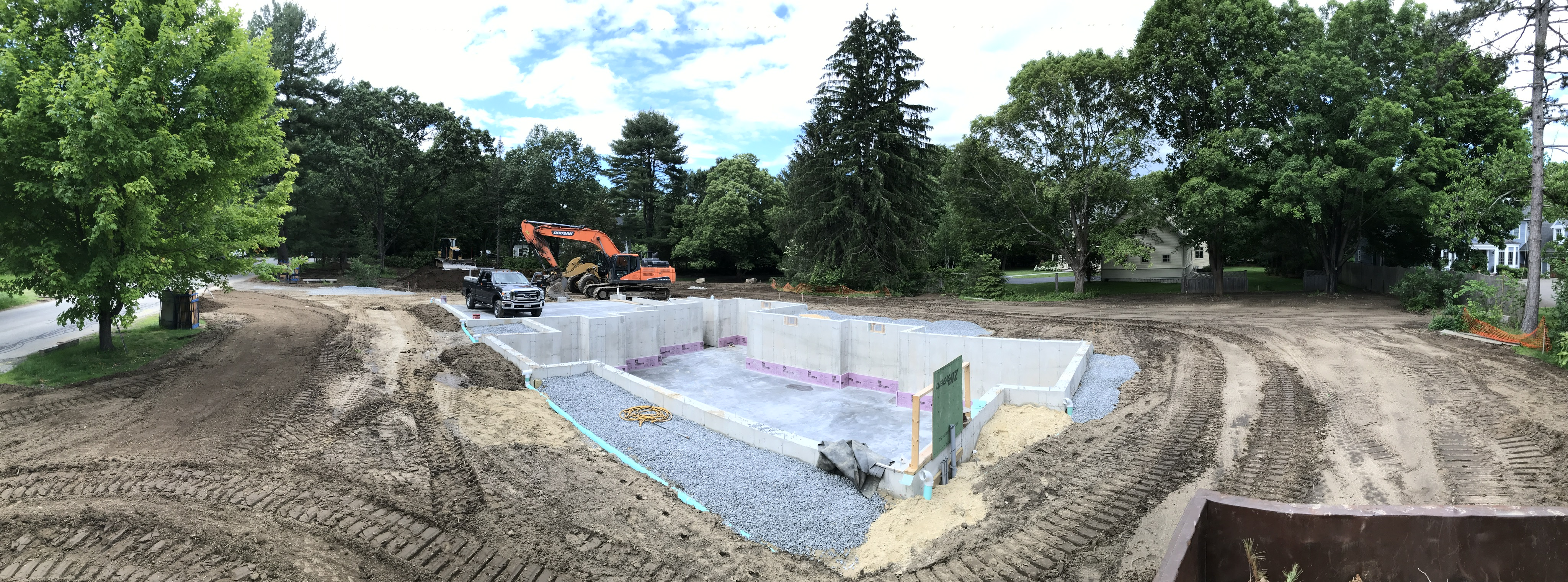 Work in progress concreting the foundation of a property