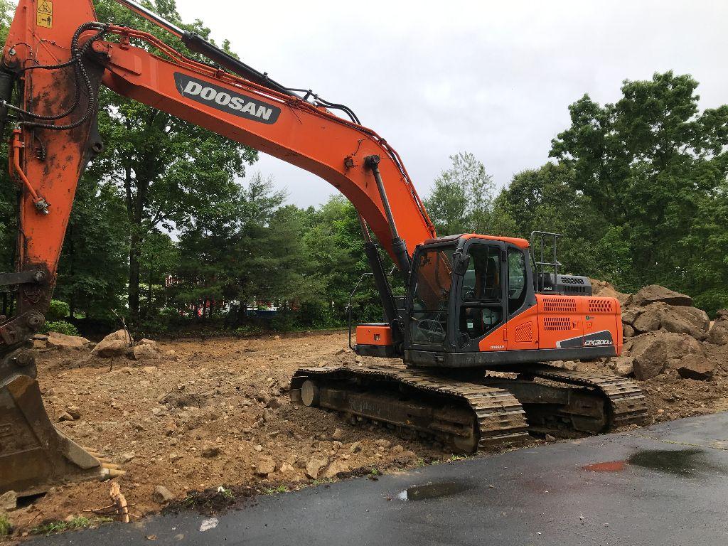 Orange excavator working on a construction site