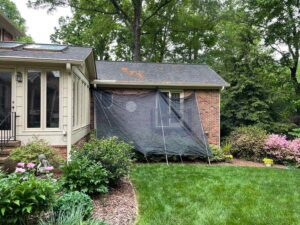 protecting yard during roof replacement