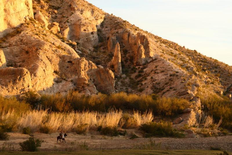 Big Bend National Park - Mexican craft seller riding a horse near Boquillas Canyon