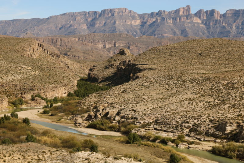 Big Bend National Park - View of the Sierra Del Carmen above the Rio Grande as seen from the Hot Springs Canyon Trail