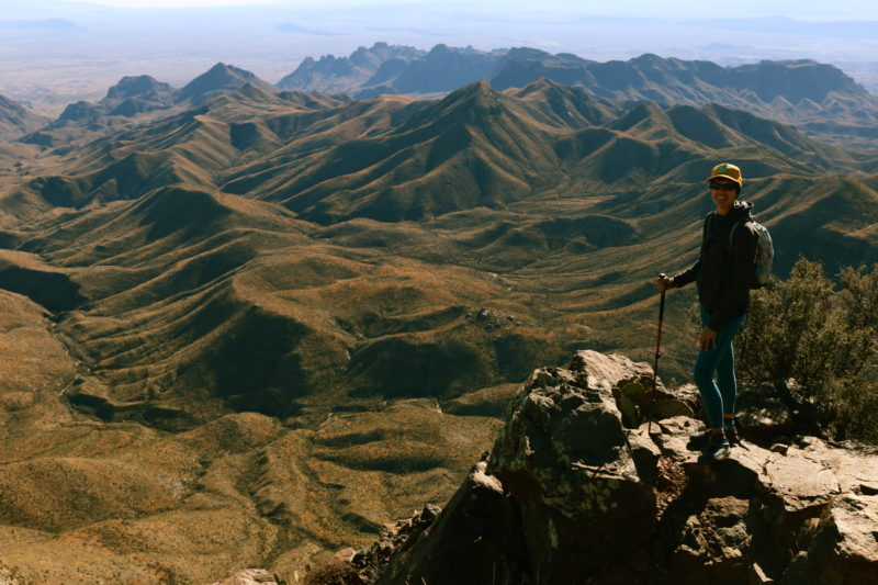 Big Bend National Park - Deborah checking out the Chihuahuan Desert from the South Rim Overlook
