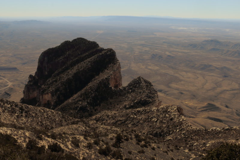 Guadalupe Peak - View of El Capitan from near the summit