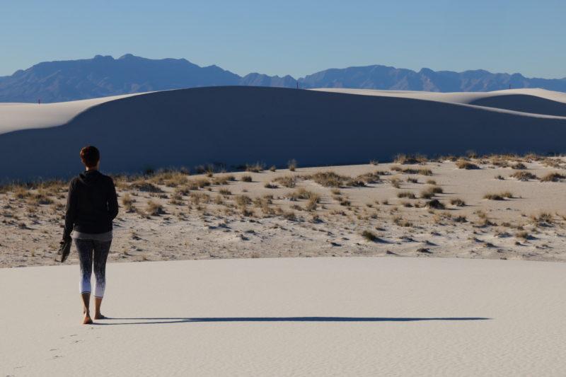 Deborah walking on the dunes in White Sands