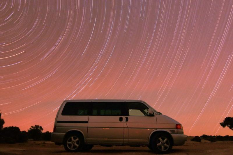 Star trails over my Eurovan.