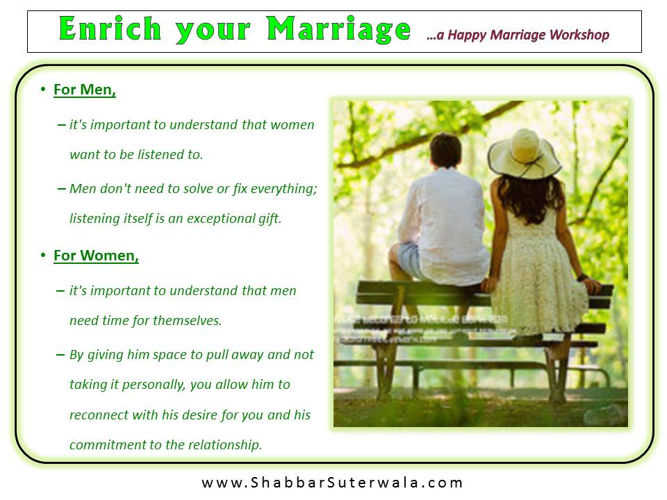 Enrich your Marriage - Tips for Men & Women
