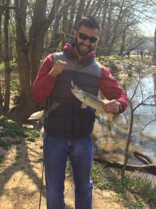 Georgi catches a Walleye