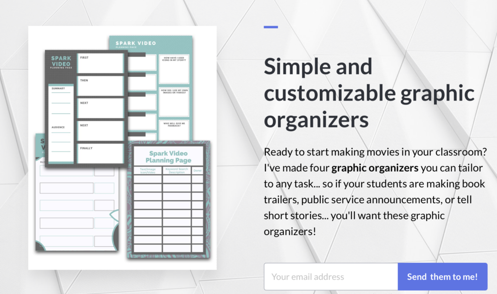 Graphic organizers that you can use with the Adobe Spark Video tool for students.
