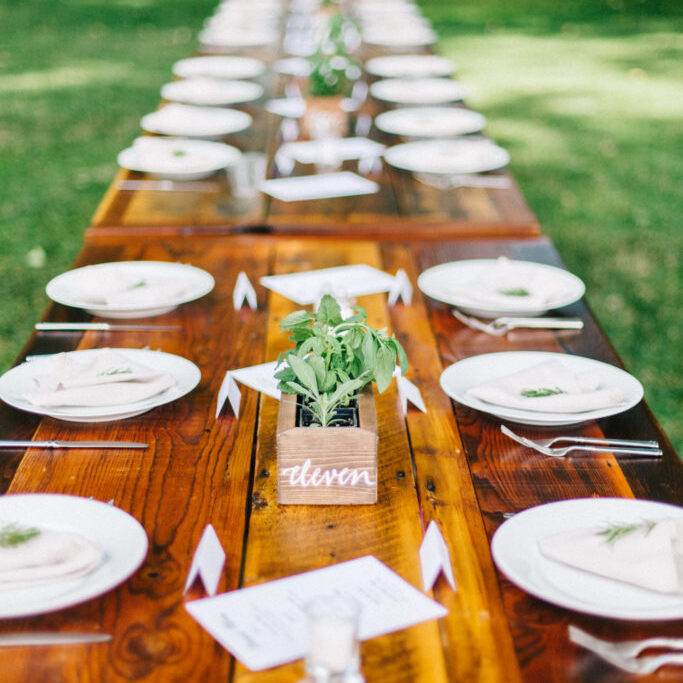 Table settings outdoors