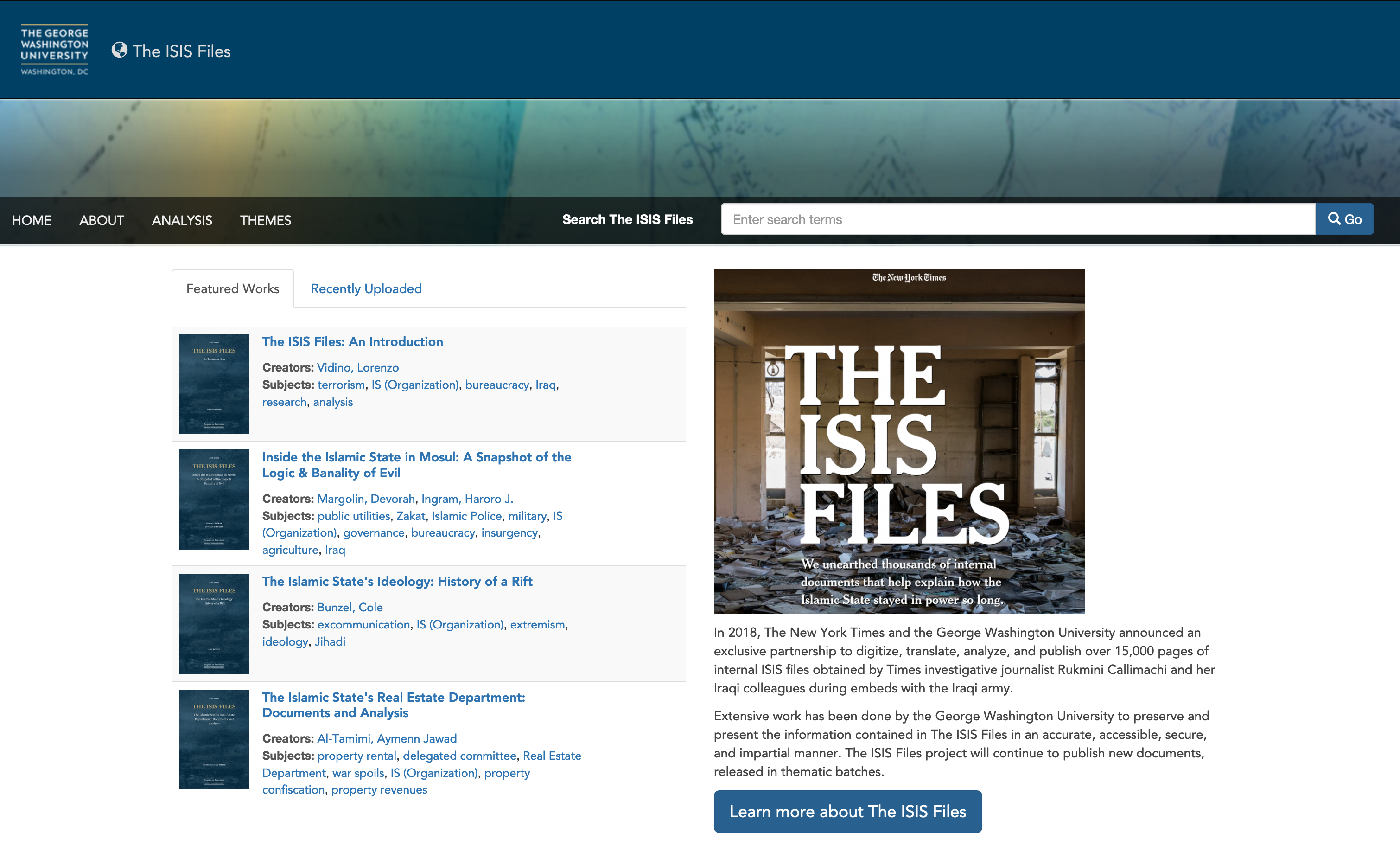Home page of ISIS Files website