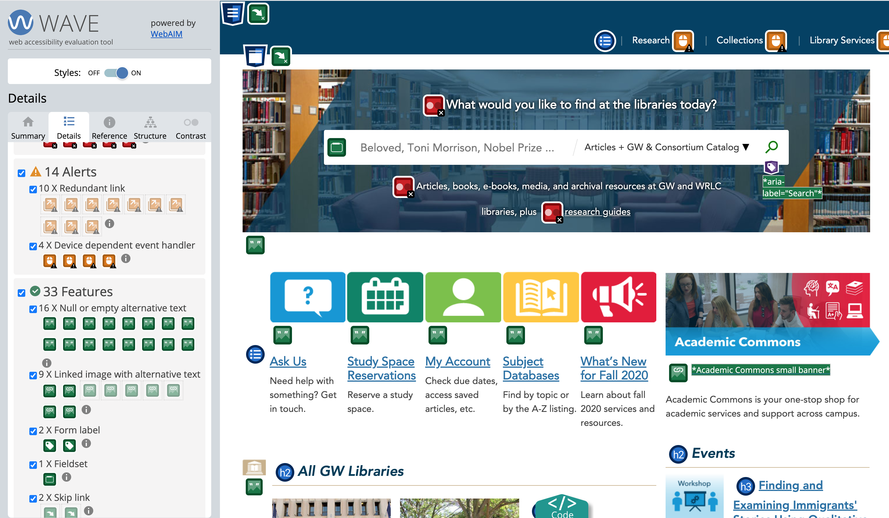 Screenshot of accessibility browser extension