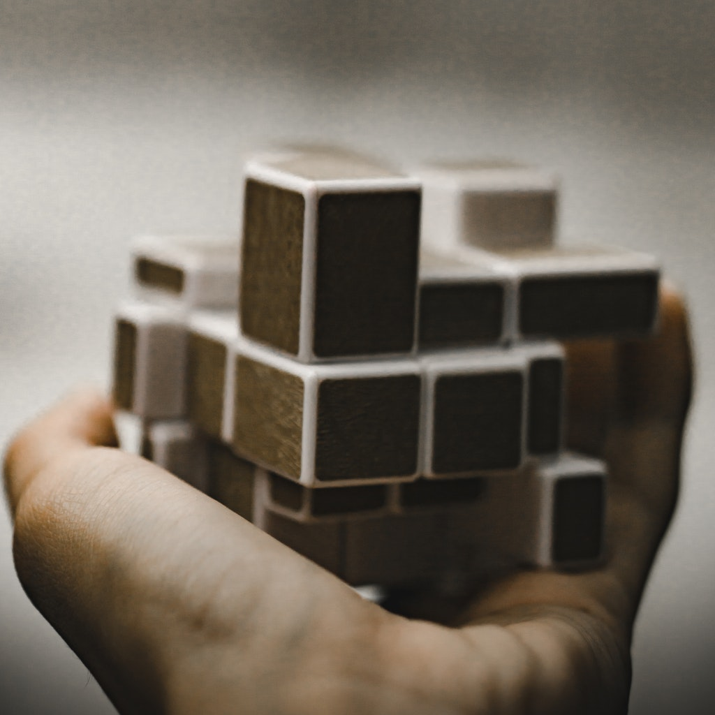 Building blocks in a hand