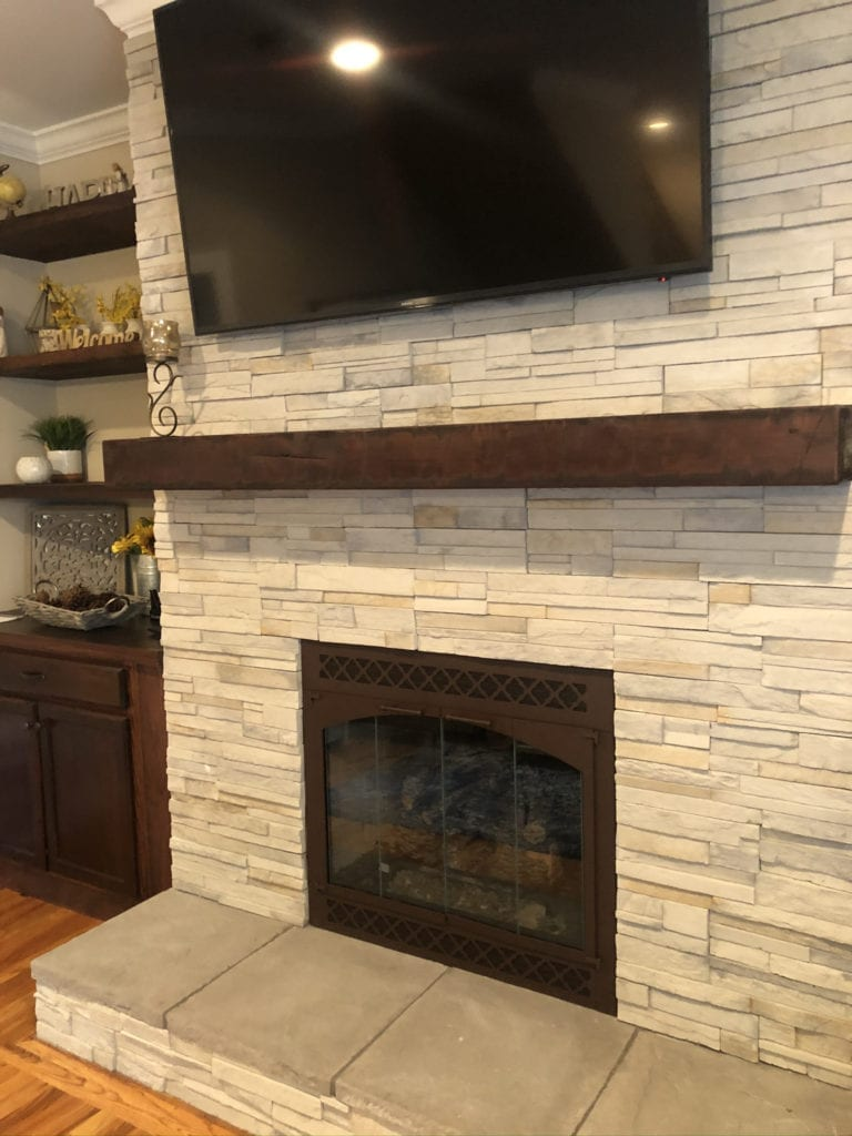 gas fireplace conversion with Peterson Gas log set