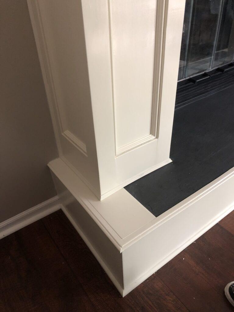 custom fireplace renovation with white mantel