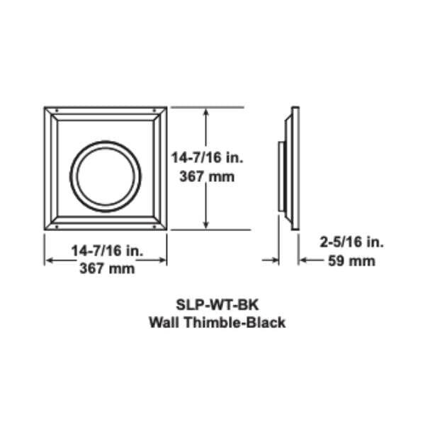 SLP-WT-BK Wall Thimble Black