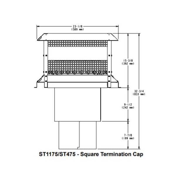 ST1175:ST475 SQUARE TERMINATION CAP
