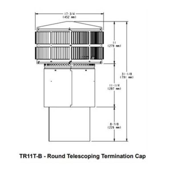 TR11t-b Round Telescoping Termination Cap