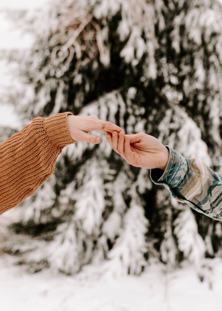 Iowa Wedding Photographer, couple holds hands in the snow during winter engagement session