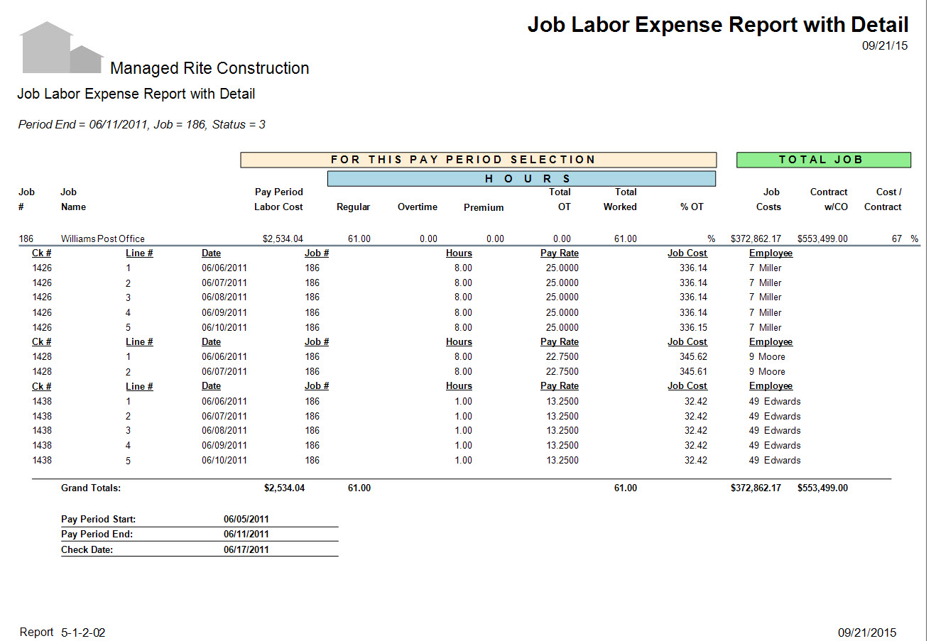 05-01-02-02 Job Labor Expense Report with Detail