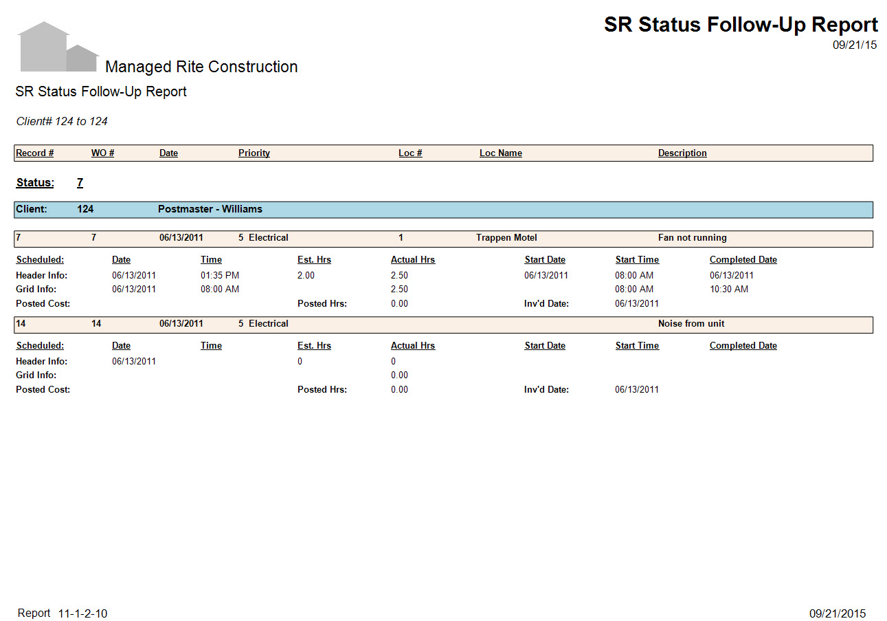 11-01-02-10 SR Status Follow-Up Report