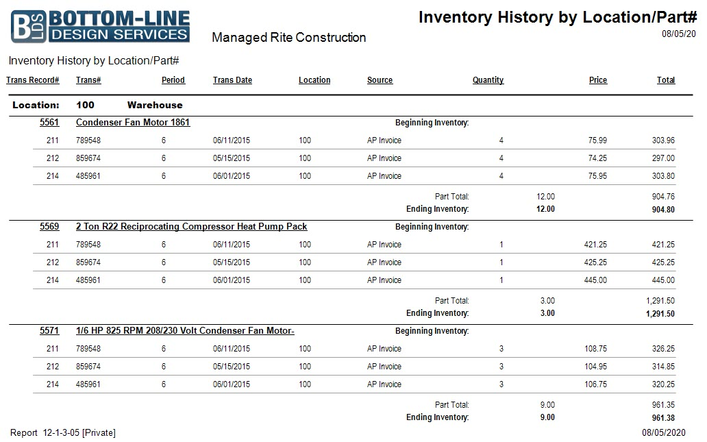 12-01-03-05 Inventory History by Location-Part No.
