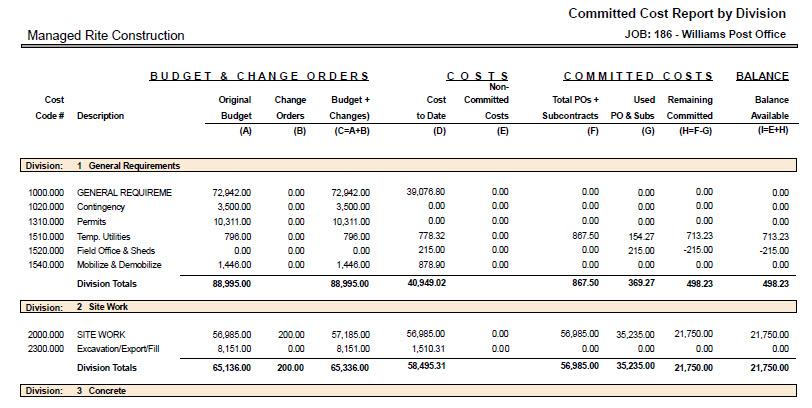 06-01-12-16 Committed Cost Report by Division