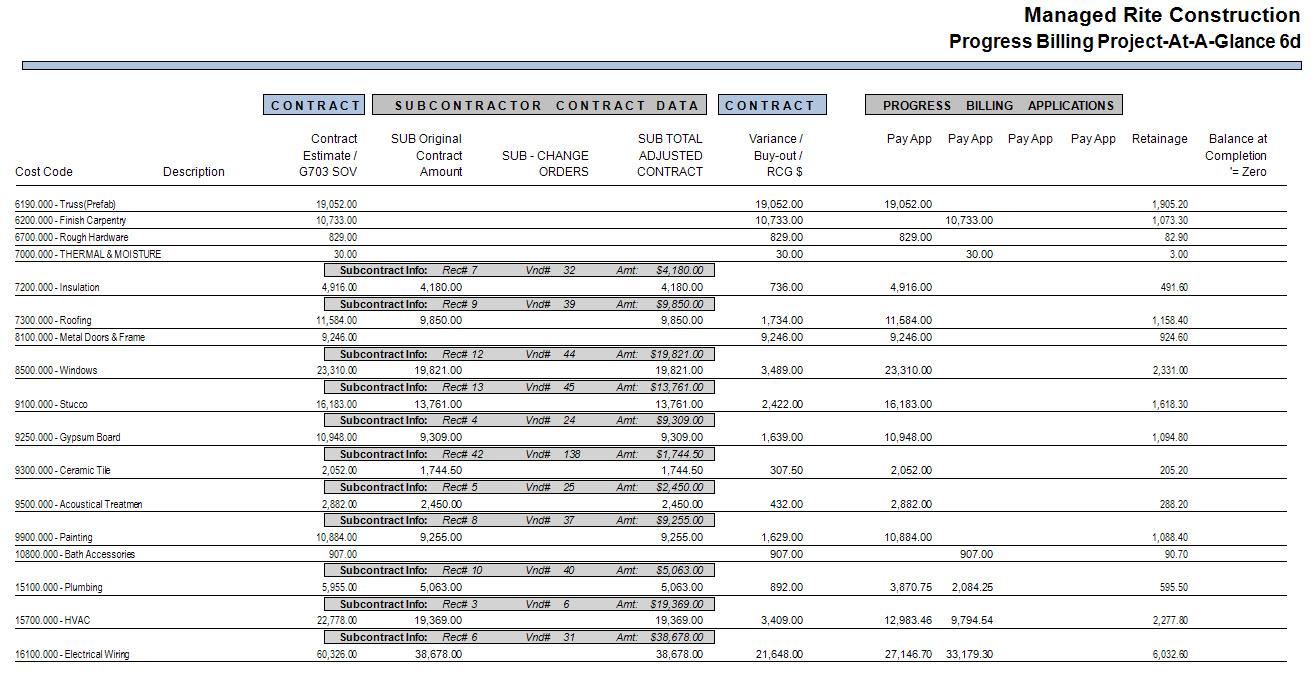 03-07-00-17 Progress Billing At-A-Glance Report